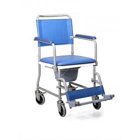 Sedia comoda con schienale smontabile e WC - 4 ruote...