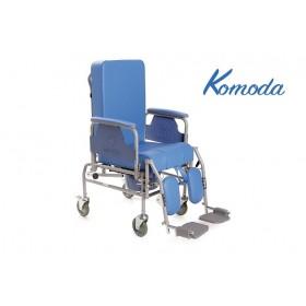 Sedia comoda con schienale reclinabile 4 ruote con WC Ø...